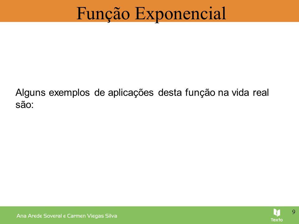 Função Exponencial Alguns exemplos de aplicações desta função na vida real são: 9 9 9