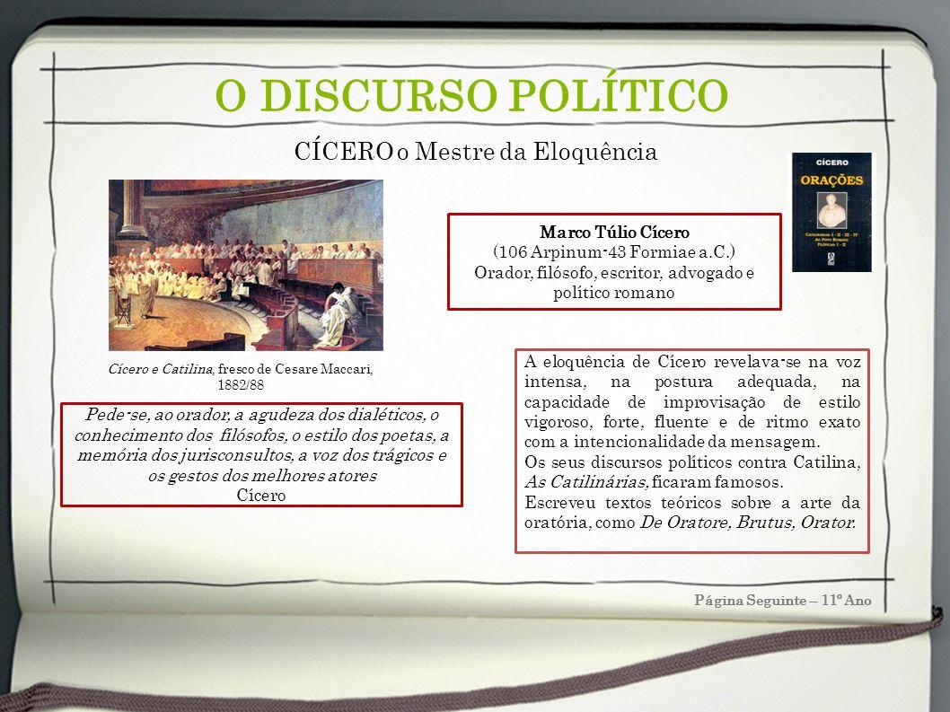 O DISCURSO POLÍTICO CÍCERO o Mestre da Eloquência Marco Túlio Cícero