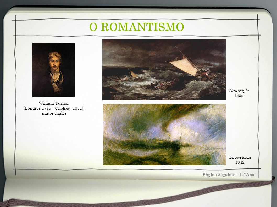O ROMANTISMO Naufrágio 1805 William Turner