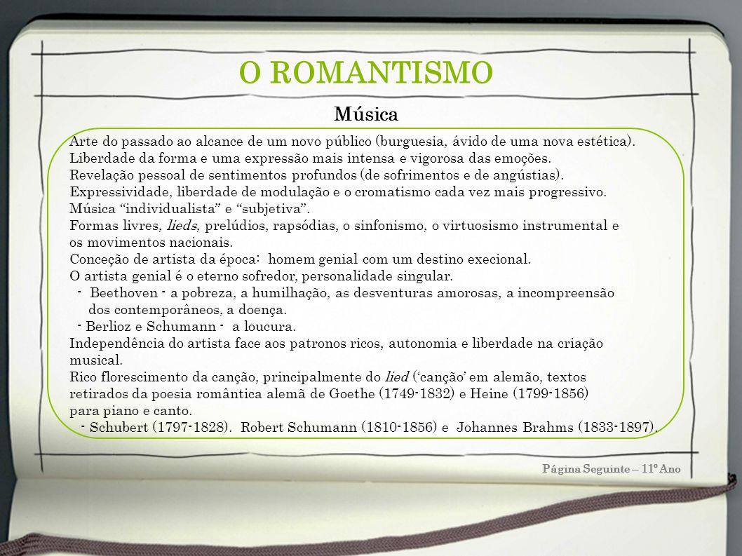 O ROMANTISMO Música. Arte do passado ao alcance de um novo público (burguesia, ávido de uma nova estética).