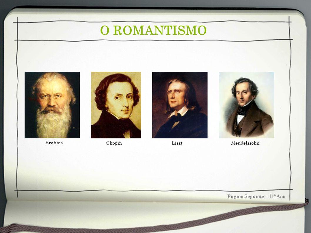 O ROMANTISMO Brahms Chopin Liszt Mendelssohn Página Seguinte – 11º Ano