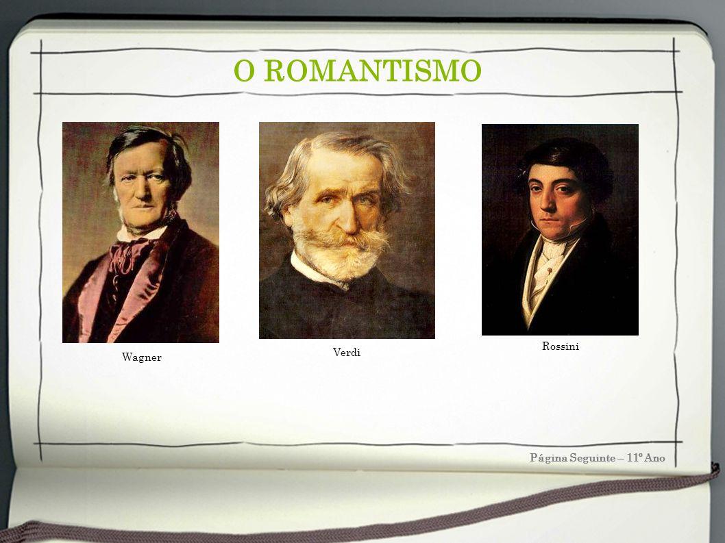 O ROMANTISMO Rossini Verdi Wagner Página Seguinte – 11º Ano