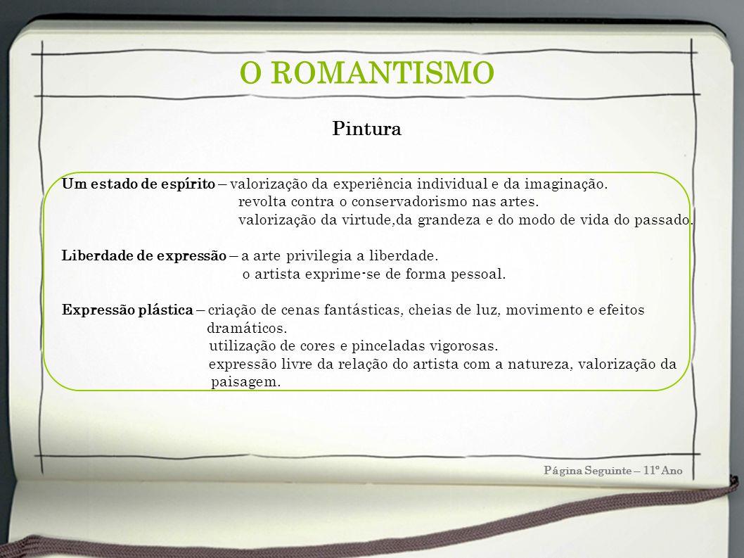 O ROMANTISMO Pintura. Um estado de espírito – valorização da experiência individual e da imaginação.