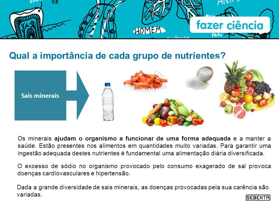 Qual a importância de cada grupo de nutrientes