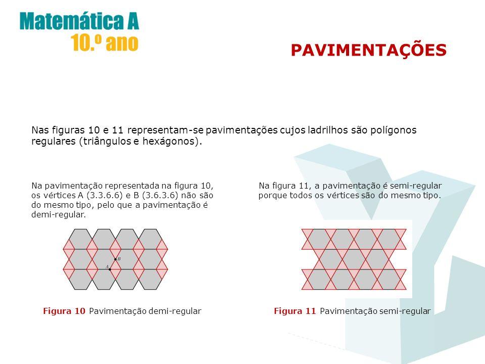 PAVIMENTAÇÕES Nas figuras 10 e 11 representam-se pavimentações cujos ladrilhos são polígonos regulares (triângulos e hexágonos).