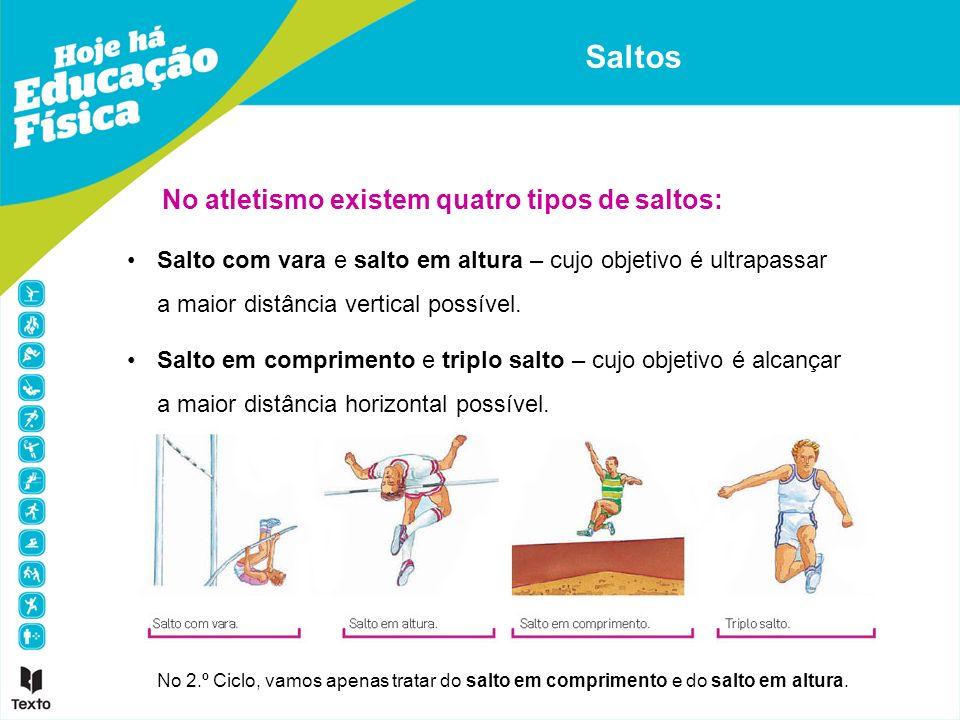 Saltos No atletismo existem quatro tipos de saltos: