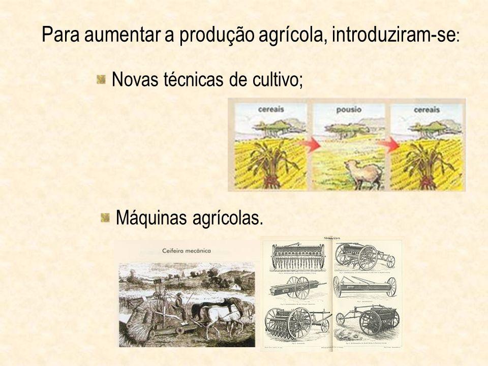 Para aumentar a produção agrícola, introduziram-se: