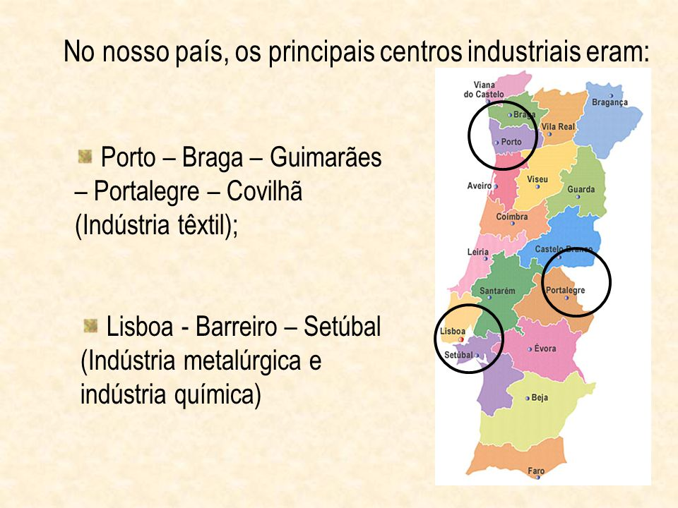 No nosso país, os principais centros industriais eram: