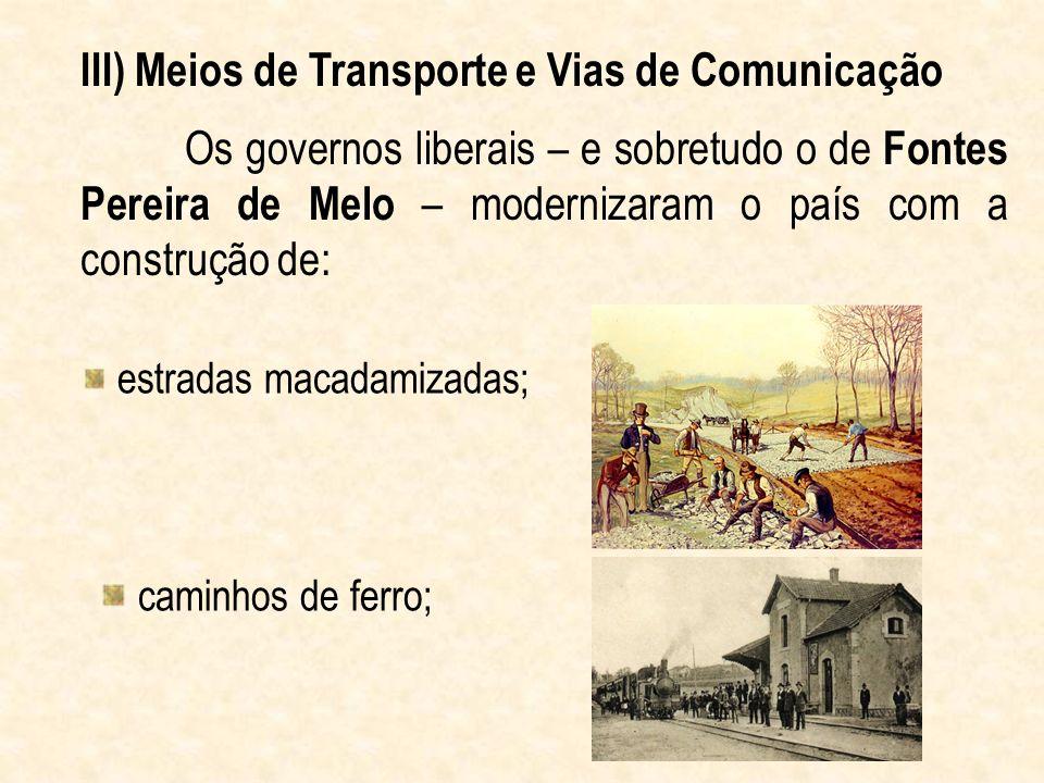 III) Meios de Transporte e Vias de Comunicação
