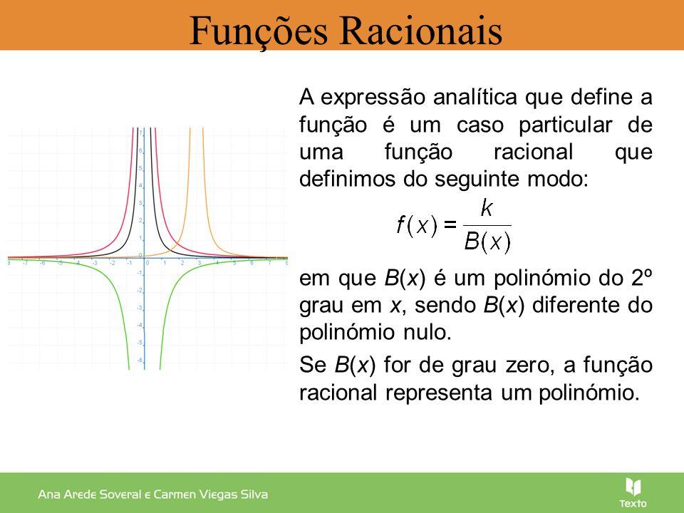 Funções Racionais A expressão analítica que define a função é um caso particular de uma função racional que definimos do seguinte modo: