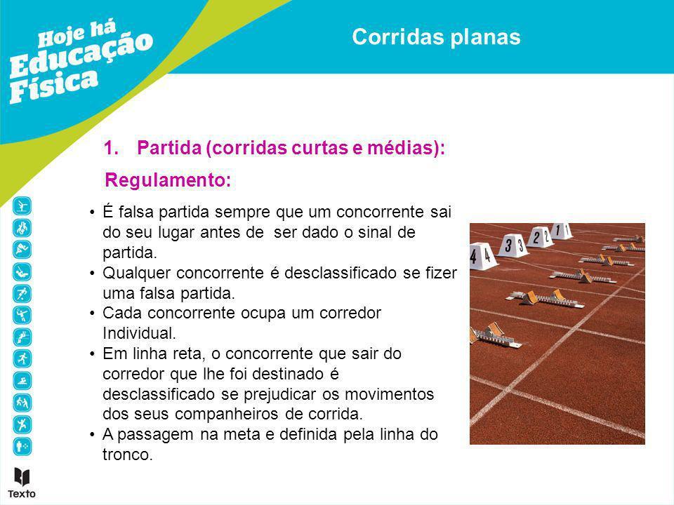 Corridas planas Partida (corridas curtas e médias): Regulamento: