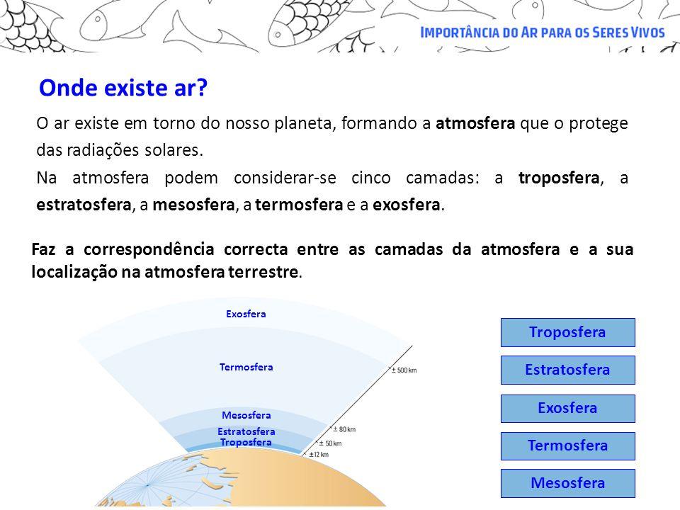 Onde existe ar O ar existe em torno do nosso planeta, formando a atmosfera que o protege das radiações solares.
