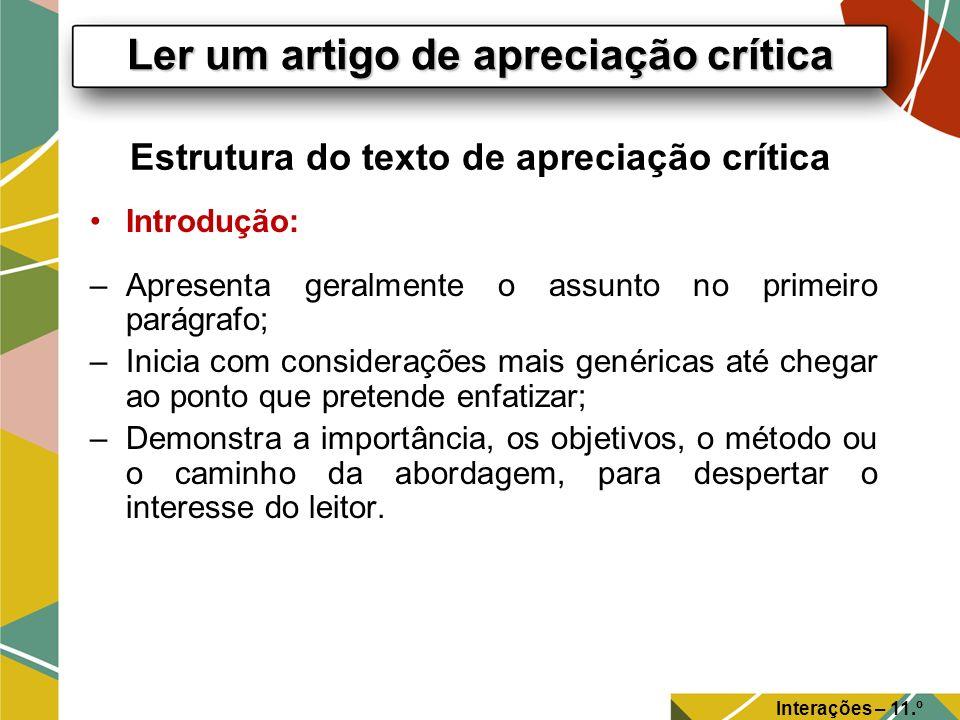 Estrutura do texto de apreciação crítica