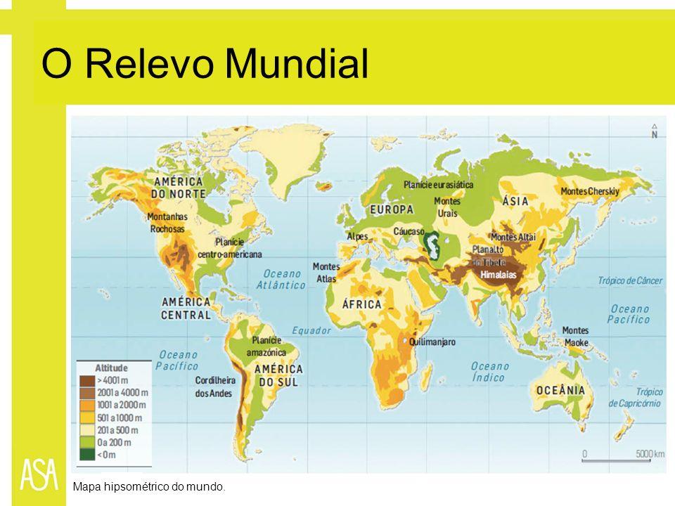 O Relevo Mundial Mapa hipsométrico do mundo.