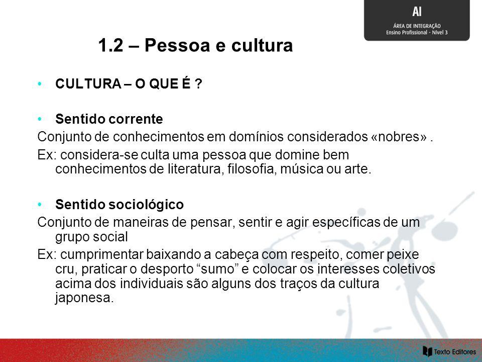 1.2 – Pessoa e cultura CULTURA – O QUE É Sentido corrente