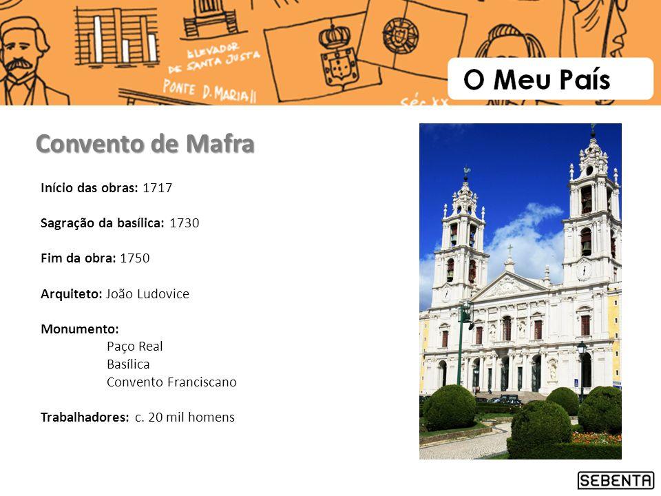 Convento de Mafra Início das obras: 1717 Sagração da basílica: 1730