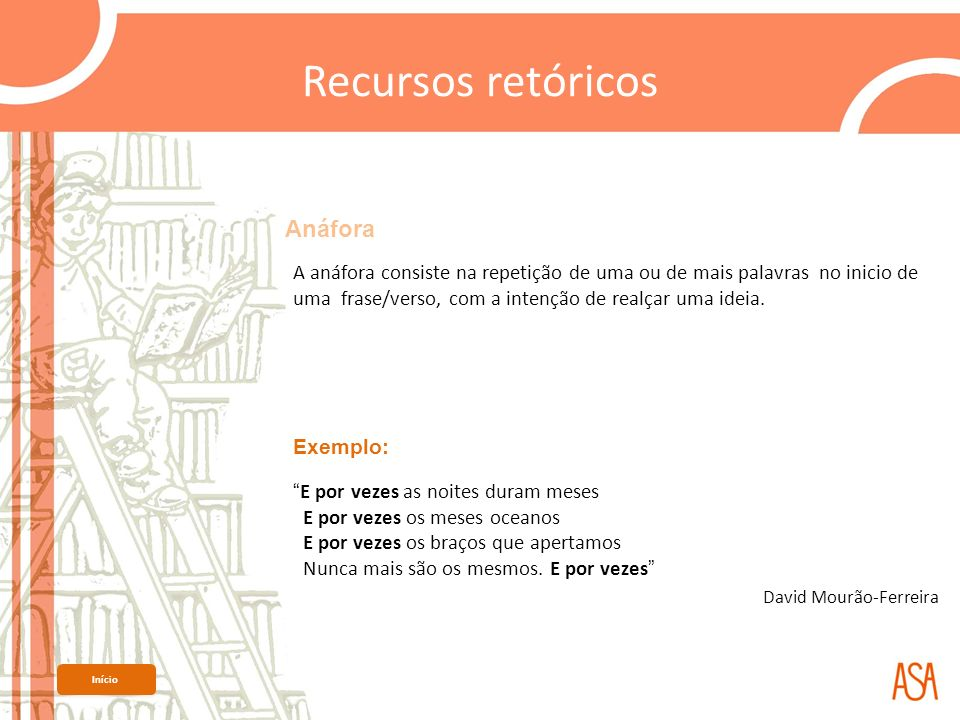 Recursos retóricos Anáfora David Mourão-Ferreira