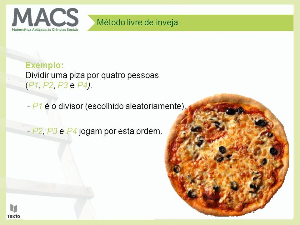 Método livre de inveja Exemplo: Dividir uma piza por quatro pessoas (P1, P2, P3 e P4). - P1 é o divisor (escolhido aleatoriamente).