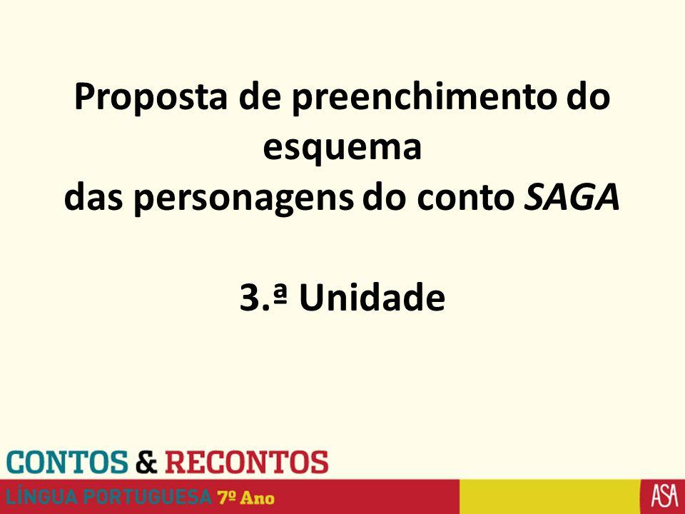 Proposta de preenchimento do esquema das personagens do conto SAGA 3