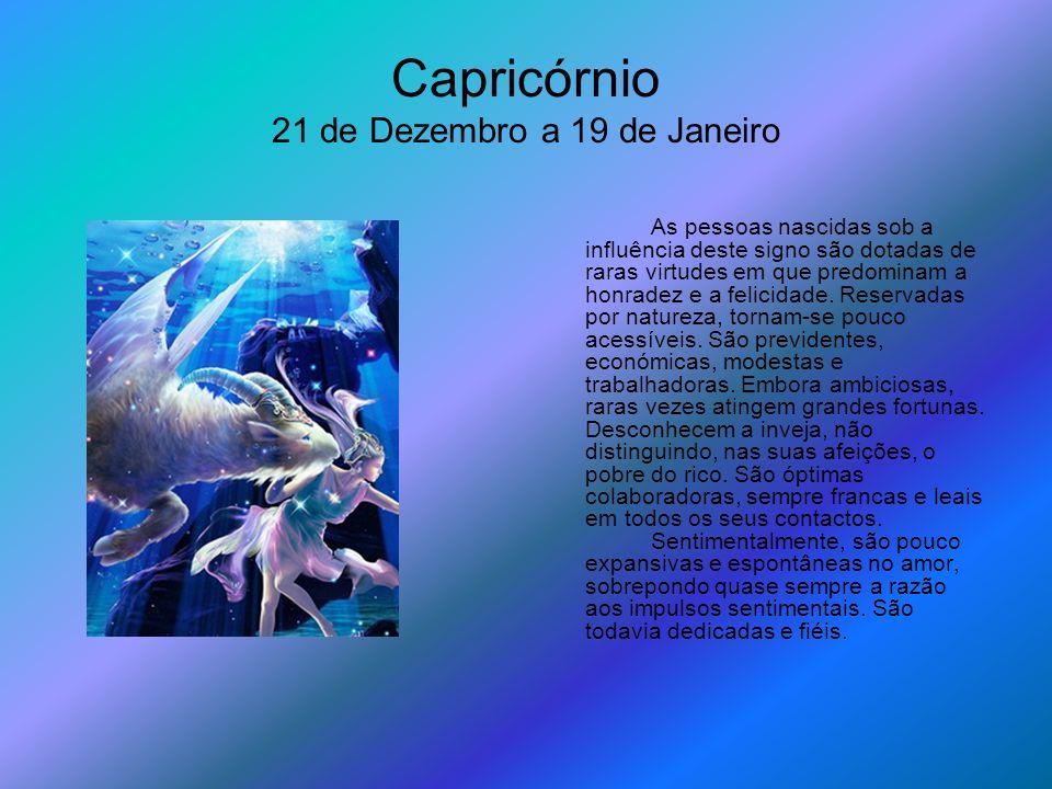 Capricórnio 21 de Dezembro a 19 de Janeiro