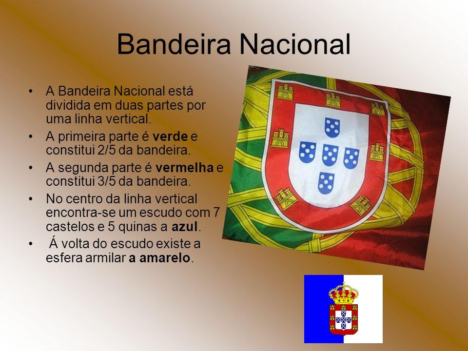 Bandeira Nacional A Bandeira Nacional está dividida em duas partes por uma linha vertical. A primeira parte é verde e constitui 2/5 da bandeira.