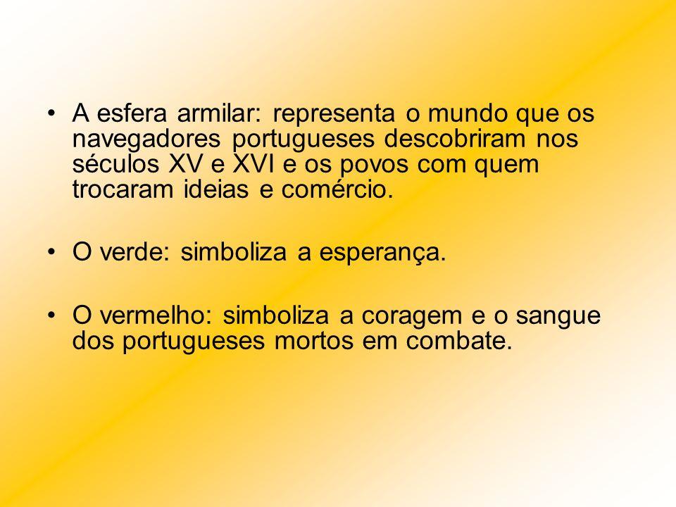 A esfera armilar: representa o mundo que os navegadores portugueses descobriram nos séculos XV e XVI e os povos com quem trocaram ideias e comércio.