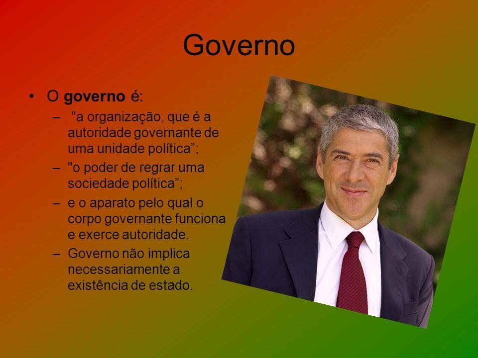 Governo O governo é: a organização, que é a autoridade governante de uma unidade política ; o poder de regrar uma sociedade política ;