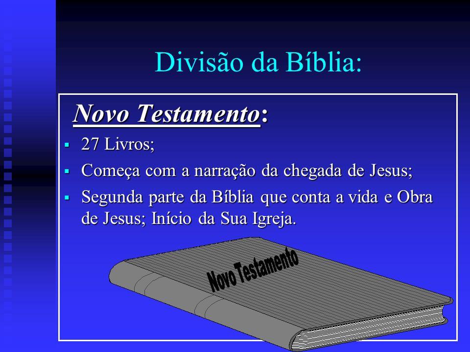Divisão da Bíblia: Novo Testamento: 27 Livros;