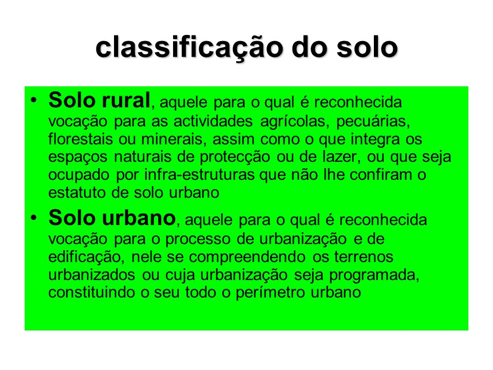 classificação do solo