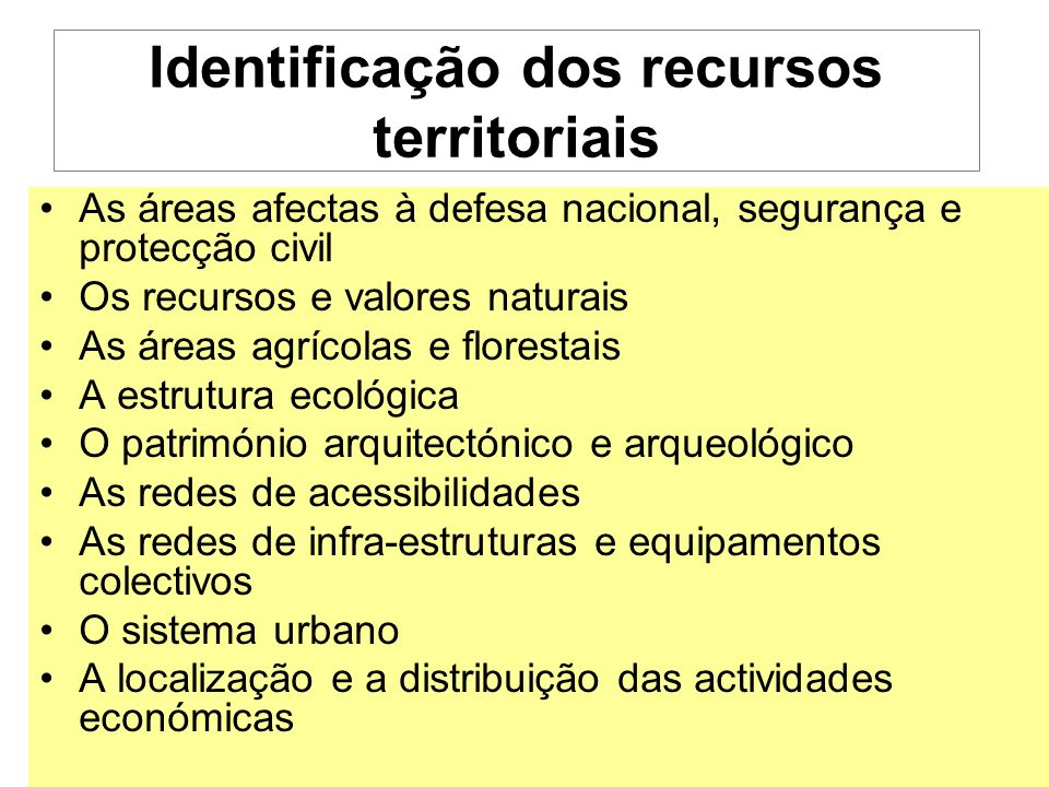 Identificação dos recursos territoriais