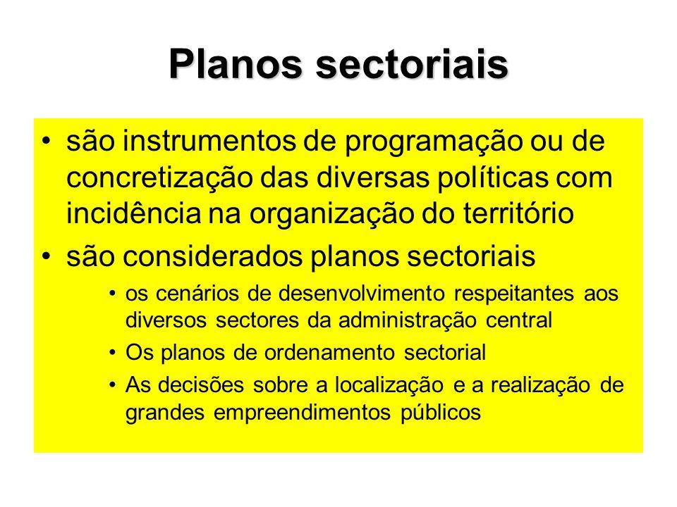 Planos sectoriais são instrumentos de programação ou de concretização das diversas políticas com incidência na organização do território.