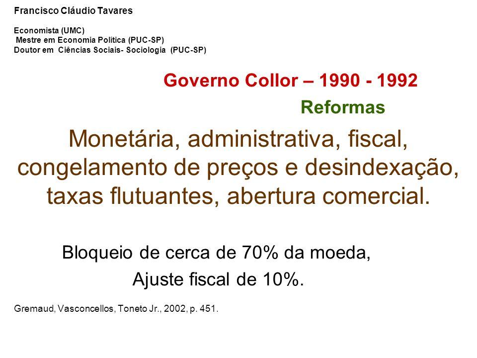 Francisco Cláudio Tavares Economista (UMC) Mestre em Economia Política (PUC-SP) Doutor em Ciências Sociais- Sociologia (PUC-SP)