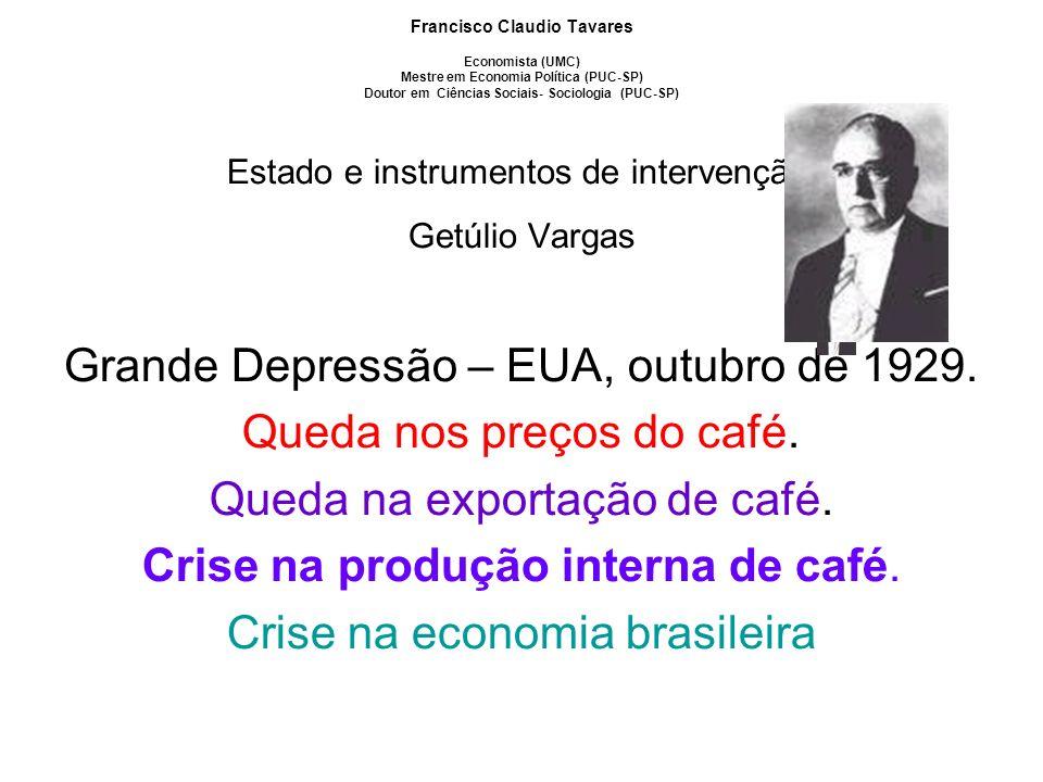 Grande Depressão – EUA, outubro de 1929. Queda nos preços do café.