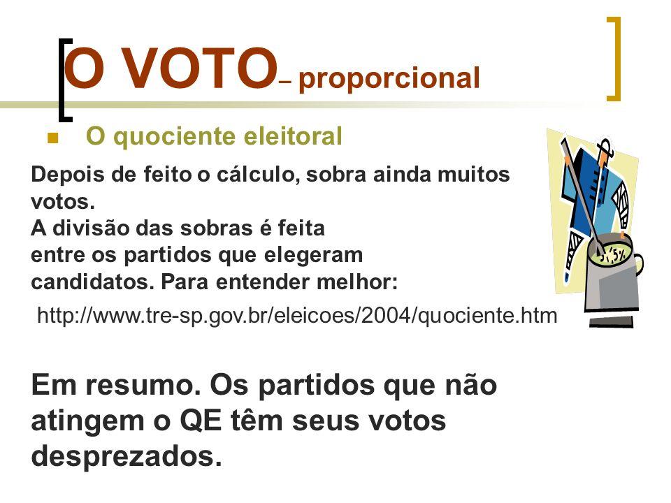 O VOTO– proporcional O quociente eleitoral