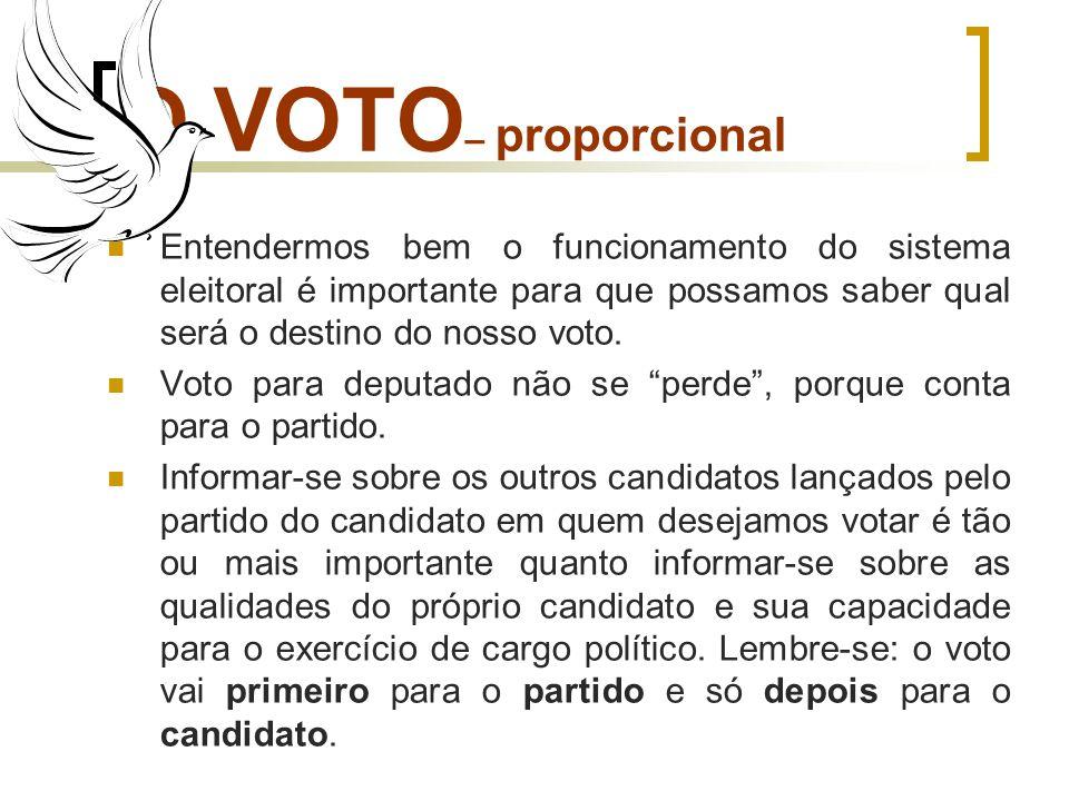 O VOTO– proporcionalEntendermos bem o funcionamento do sistema eleitoral é importante para que possamos saber qual será o destino do nosso voto.