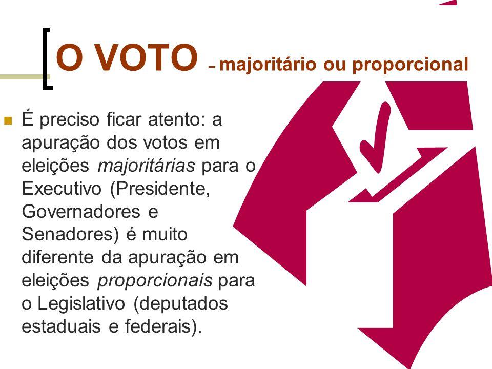 O VOTO – majoritário ou proporcional