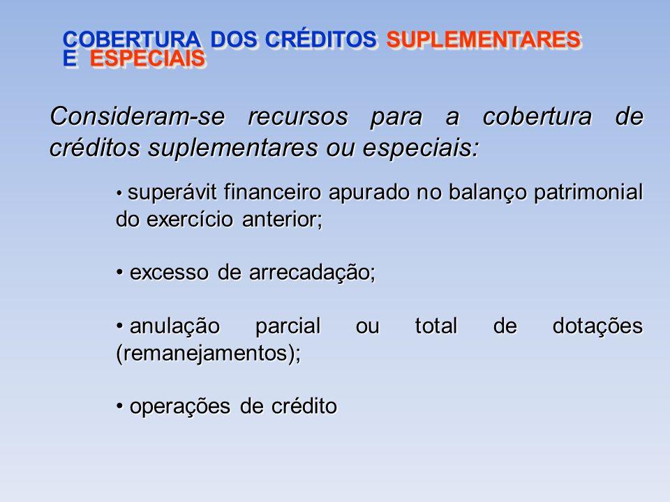 COBERTURA DOS CRÉDITOS SUPLEMENTARES E ESPECIAIS