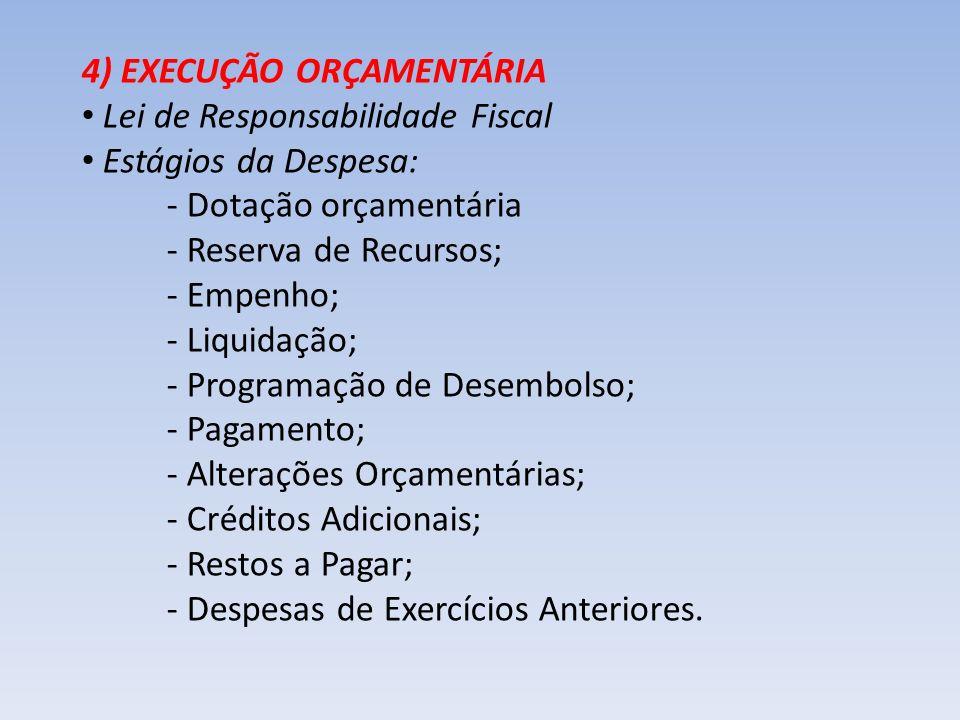 4) EXECUÇÃO ORÇAMENTÁRIA
