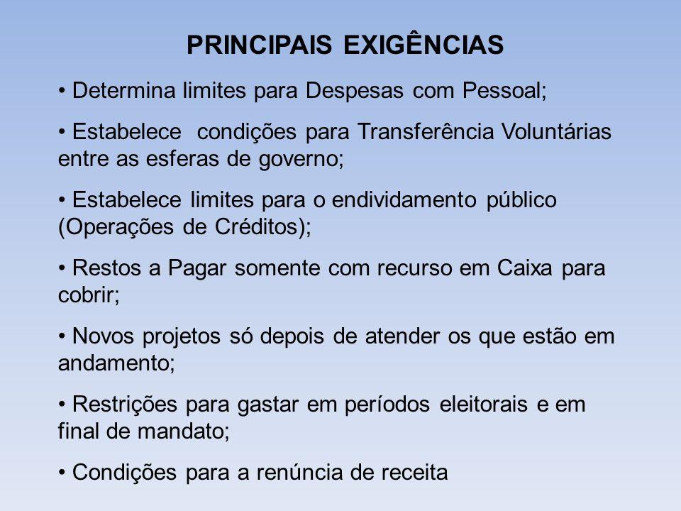 PRINCIPAIS EXIGÊNCIAS