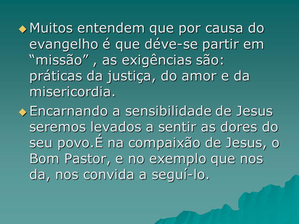 Muitos entendem que por causa do evangelho é que déve-se partir em missão , as exigências são: práticas da justiça, do amor e da misericordia.