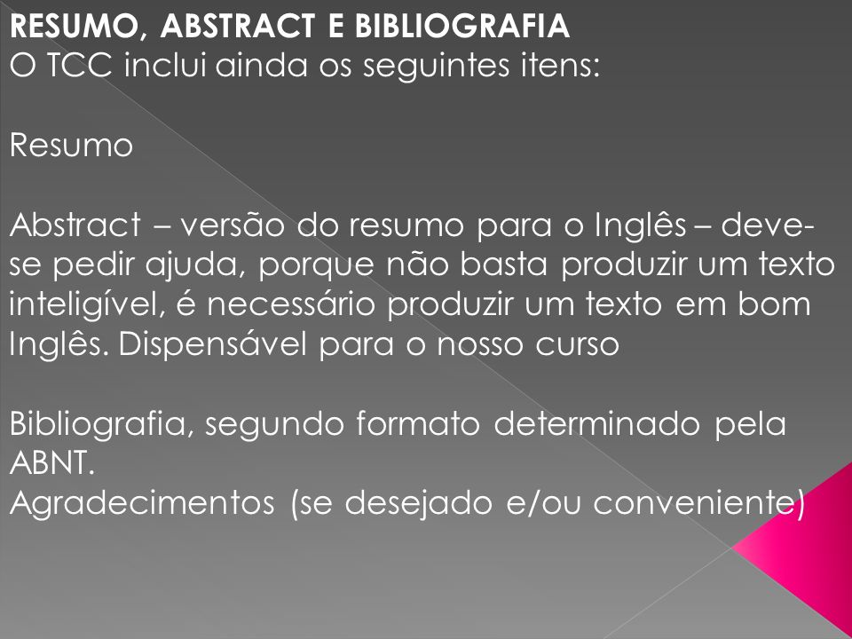 RESUMO, ABSTRACT E BIBLIOGRAFIA