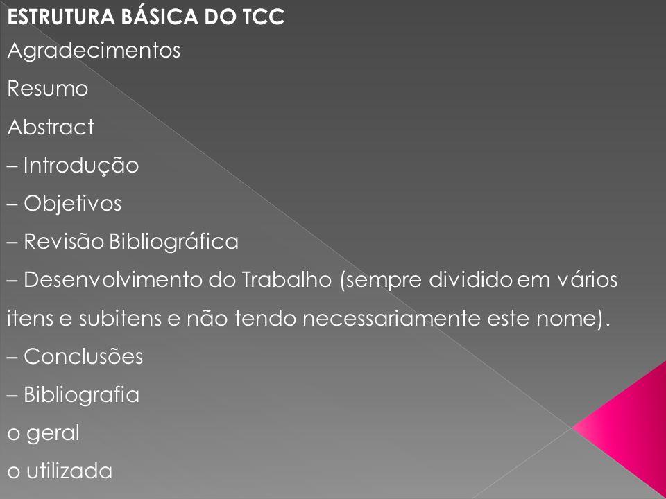 ESTRUTURA BÁSICA DO TCC