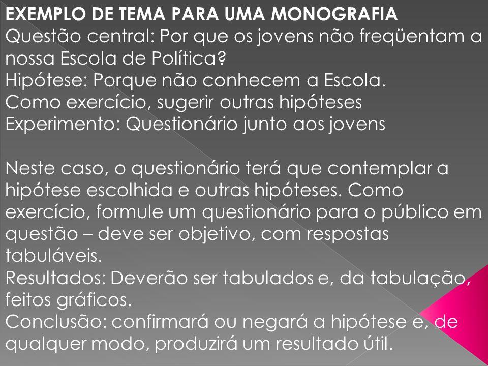 EXEMPLO DE TEMA PARA UMA MONOGRAFIA