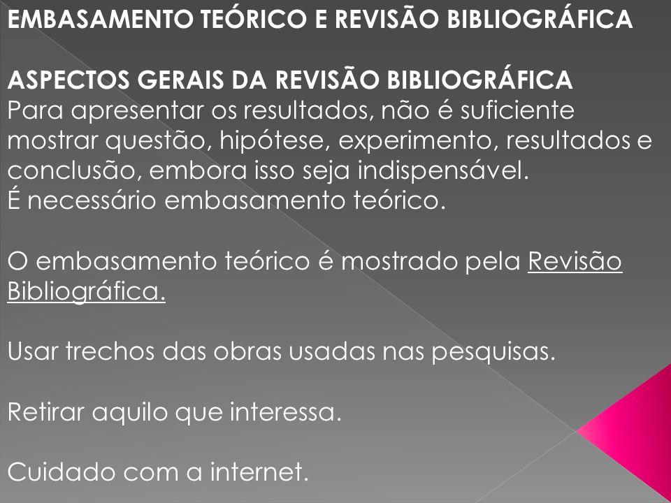 EMBASAMENTO TEÓRICO E REVISÃO BIBLIOGRÁFICA