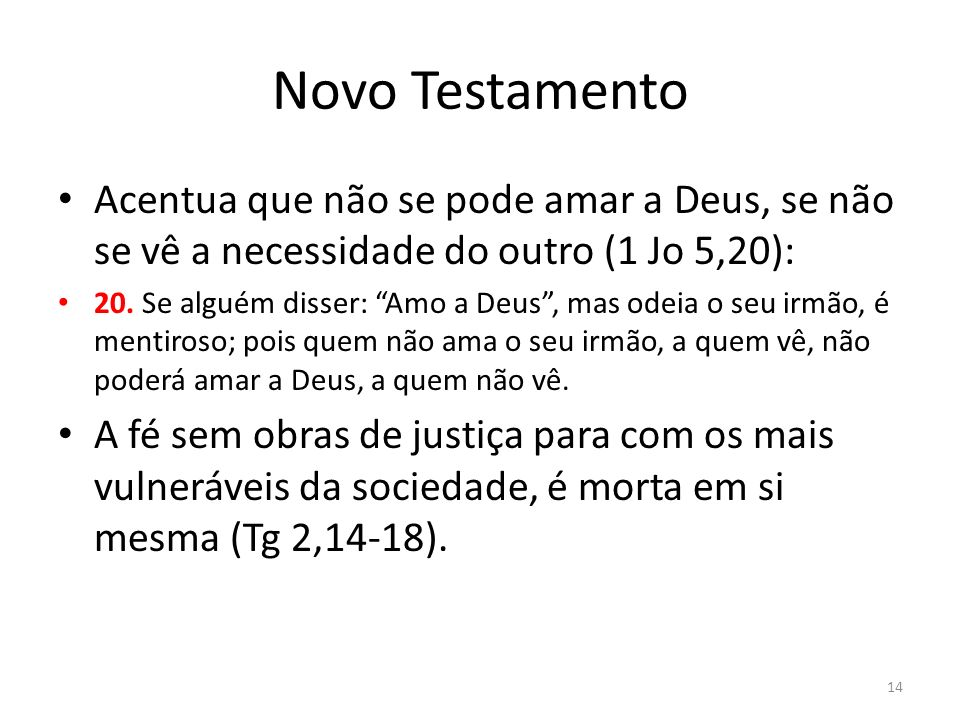 Novo TestamentoAcentua que não se pode amar a Deus, se não se vê a necessidade do outro (1 Jo 5,20):