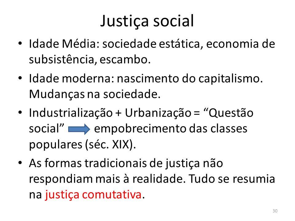 Justiça social Idade Média: sociedade estática, economia de subsistência, escambo. Idade moderna: nascimento do capitalismo. Mudanças na sociedade.