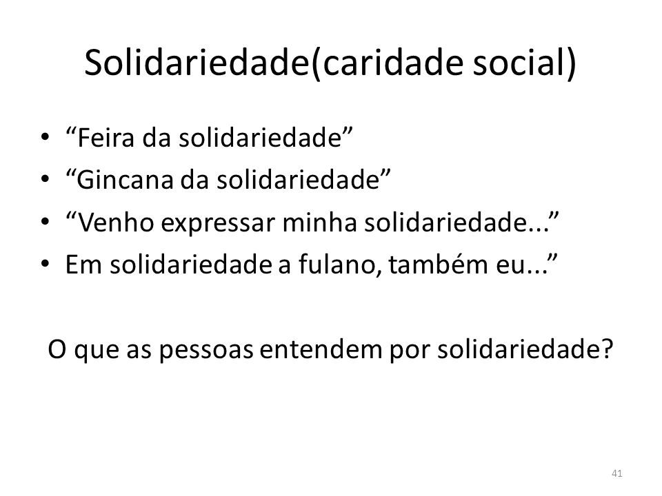 Solidariedade(caridade social)