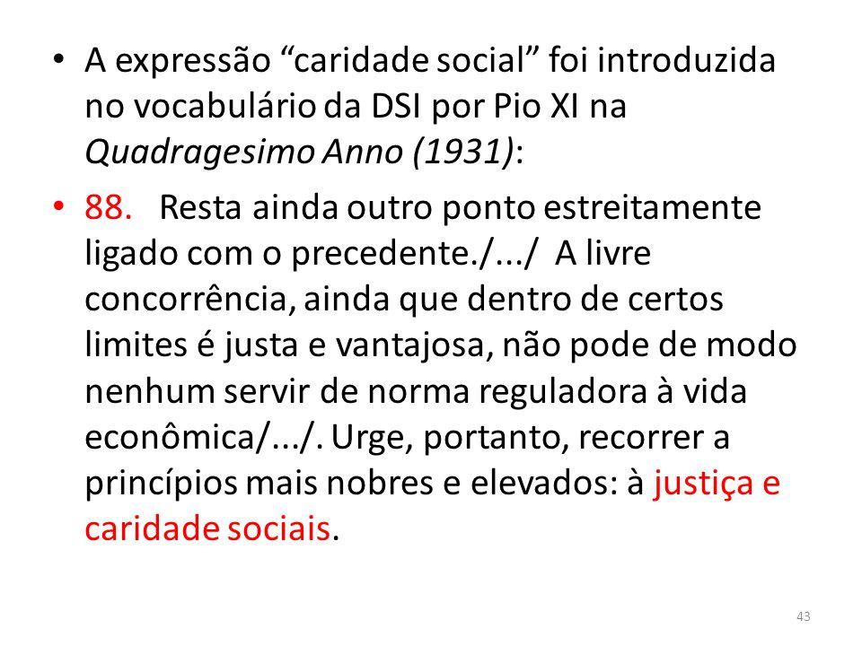 A expressão caridade social foi introduzida no vocabulário da DSI por Pio XI na Quadragesimo Anno (1931):
