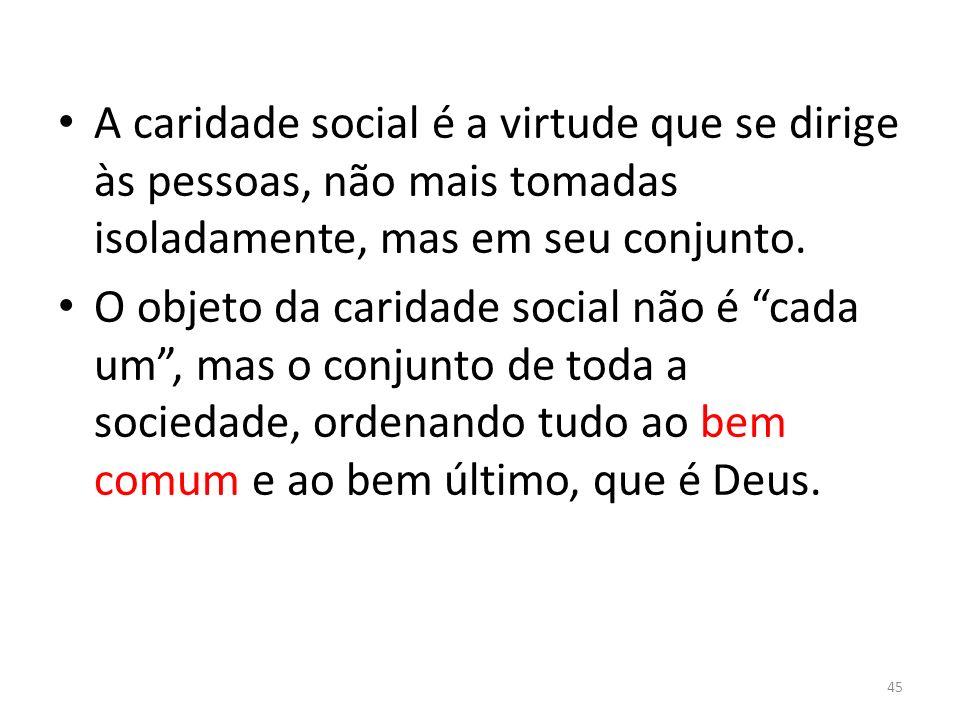 A caridade social é a virtude que se dirige às pessoas, não mais tomadas isoladamente, mas em seu conjunto.