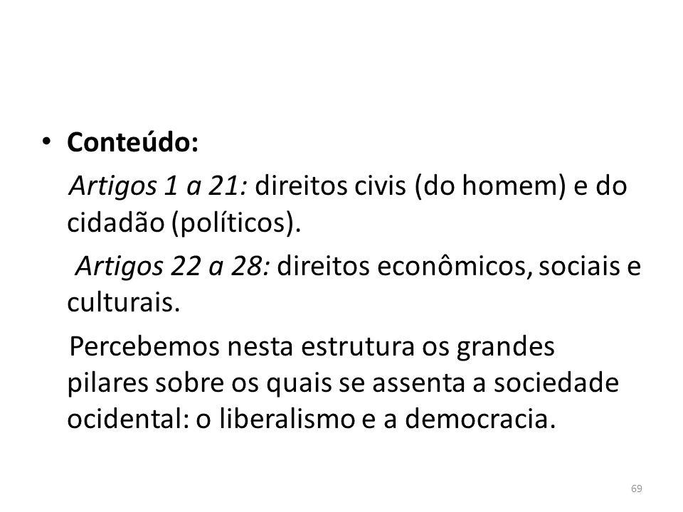 Conteúdo:Artigos 1 a 21: direitos civis (do homem) e do cidadão (políticos). Artigos 22 a 28: direitos econômicos, sociais e culturais.